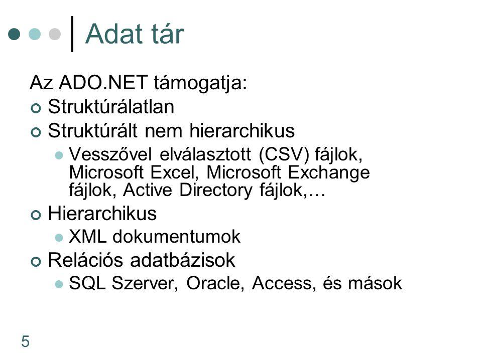 5 Adat tár Az ADO.NET támogatja: Struktúrálatlan Struktúrált nem hierarchikus Vesszővel elválasztott (CSV) fájlok, Microsoft Excel, Microsoft Exchange fájlok, Active Directory fájlok,… Hierarchikus XML dokumentumok Relációs adatbázisok SQL Szerver, Oracle, Access, és mások