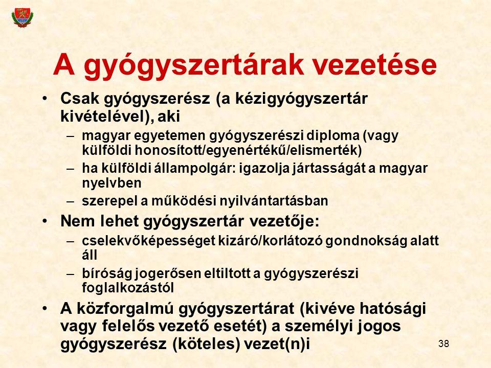 38 A gyógyszertárak vezetése Csak gyógyszerész (a kézigyógyszertár kivételével), aki –magyar egyetemen gyógyszerészi diploma (vagy külföldi honosított