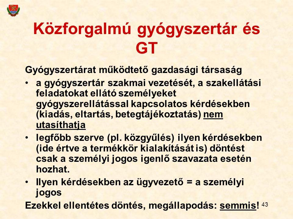 43 Közforgalmú gyógyszertár és GT Gyógyszertárat működtető gazdasági társaság a gyógyszertár szakmai vezetését, a szakellátási feladatokat ellátó szem