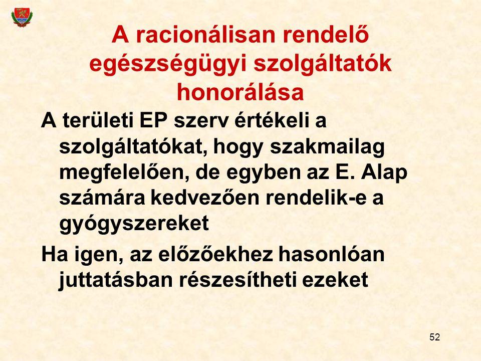 52 A racionálisan rendelő egészségügyi szolgáltatók honorálása A területi EP szerv értékeli a szolgáltatókat, hogy szakmailag megfelelően, de egyben a