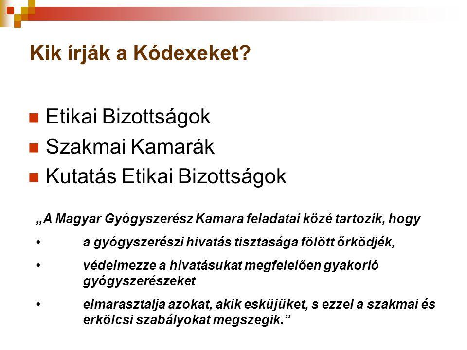 """Kik írják a Kódexeket? Etikai Bizottságok Szakmai Kamarák Kutatás Etikai Bizottságok """"A Magyar Gyógyszerész Kamara feladatai közé tartozik, hogy a gyó"""