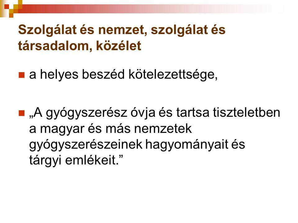 """Szolgálat és nemzet, szolgálat és társadalom, közélet a helyes beszéd kötelezettsége, """"A gyógyszerész óvja és tartsa tiszteletben a magyar és más nemz"""