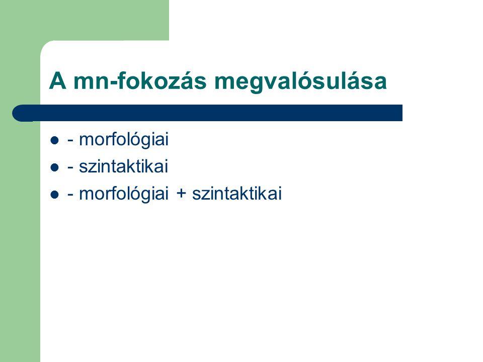 A mn-fokozás megvalósulása - morfológiai - szintaktikai - morfológiai + szintaktikai