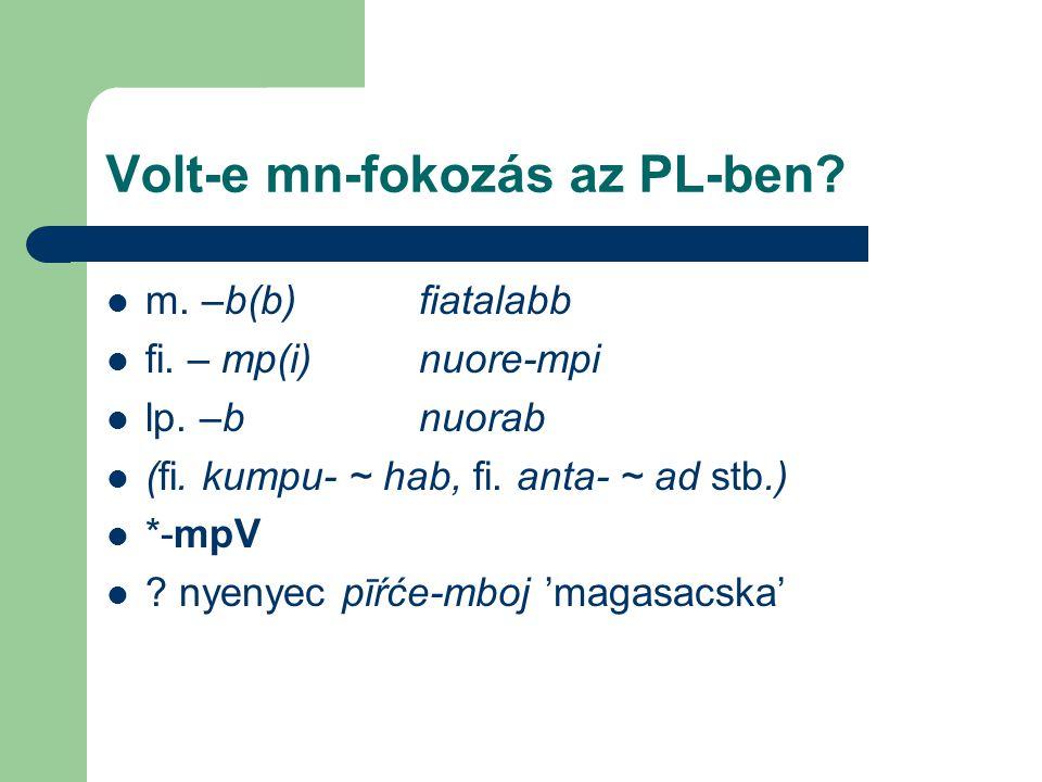 Volt-e mn-fokozás az PL-ben? m. –b(b)fiatalabb fi. – mp(i)nuore-mpi lp. –bnuorab (fi. kumpu- ~ hab, fi. anta- ~ ad stb.) *-mpV ? nyenyec pīŕće-mboj 'm