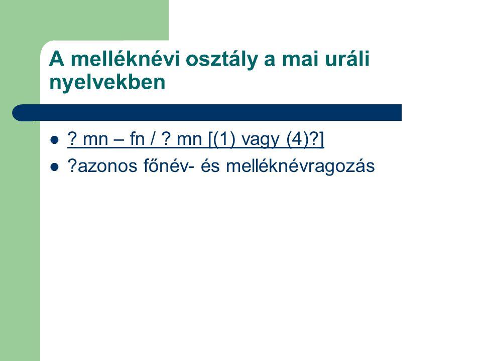 A melléknévi osztály a mai uráli nyelvekben ? mn – fn / ? mn [(1) vagy (4)?] ?azonos főnév- és melléknévragozás