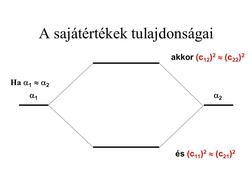 A sajátértékek tulajdonságai 22 11 akkor (c 12 ) 2  (c 22 ) 2 és (c 11 ) 2  (c 21 ) 2 Ha  1   2