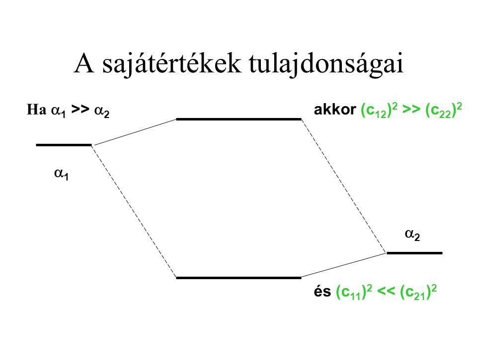 A sajátértékek tulajdonságai 22 11 akkor (c 12 ) 2 >> (c 22 ) 2 és (c 11 ) 2 << (c 21 ) 2 Ha  1 >>  2