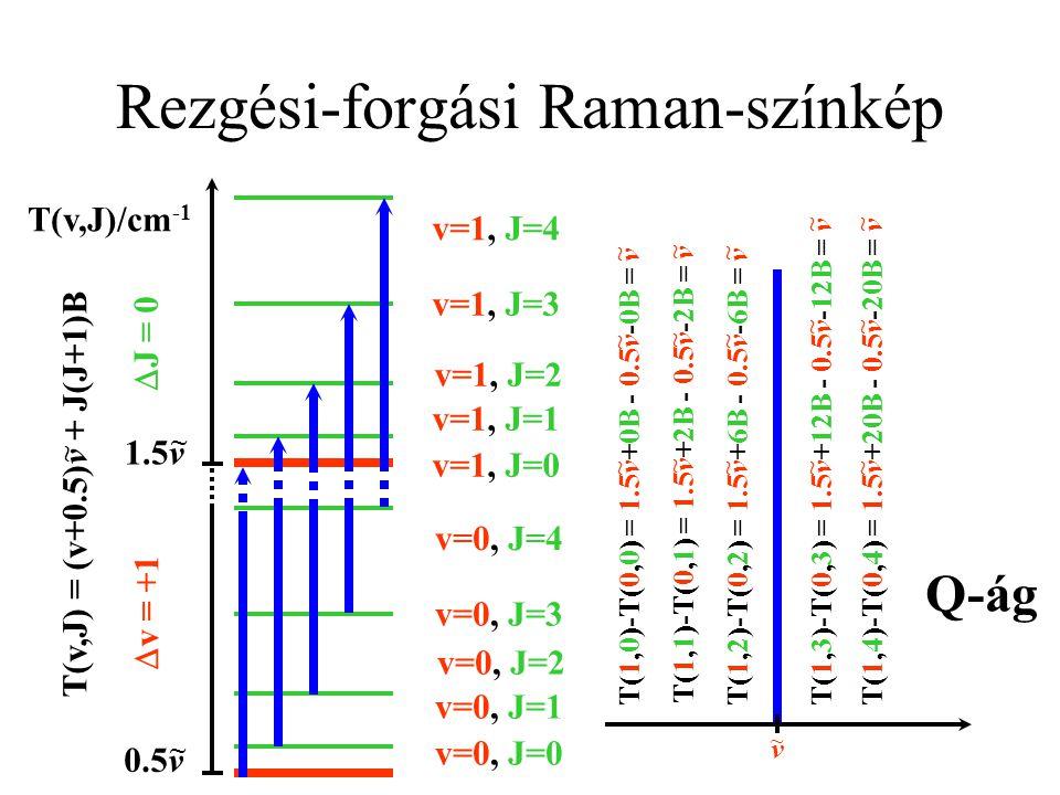 Rezgési-forgási színképek - ágak P-ágR-ág v + J*2B ~ v - J*2B ~ v + J*4B + 2B ~ v - J*4B - 2B ~ O-ágS-ág Q-ág v ~ Elnyelési színkép v ~ Raman-színkép -2+20+1