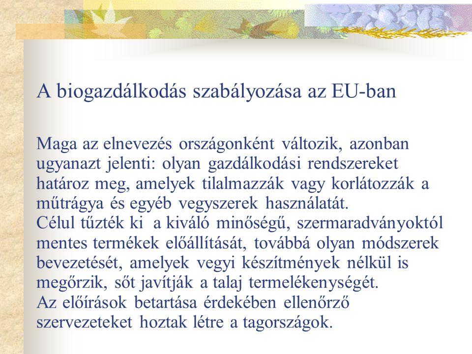 A biogazdálkodás szabályozása az EU-ban Maga az elnevezés országonként változik, azonban ugyanazt jelenti: olyan gazdálkodási rendszereket határoz meg