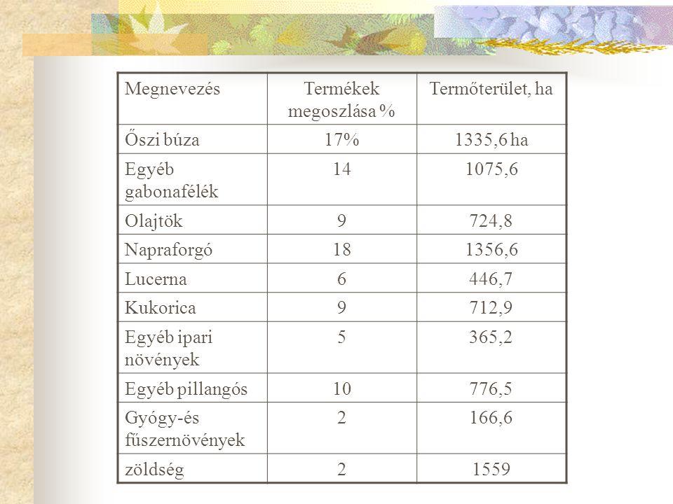 MegnevezésTermékek megoszlása % Termőterület, ha Őszi búza17%1335,6 ha Egyéb gabonafélék 141075,6 Olajtök9724,8 Napraforgó181356,6 Lucerna6446,7 Kukor