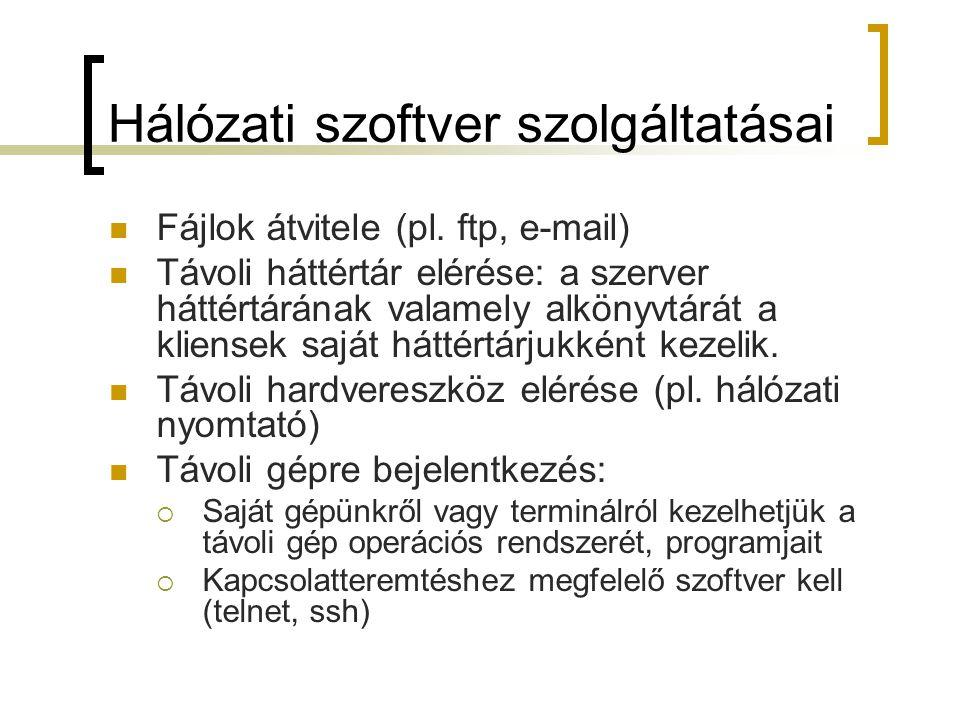 Hálózati szoftver szolgáltatásai Fájlok átvitele (pl. ftp, e-mail) Távoli háttértár elérése: a szerver háttértárának valamely alkönyvtárát a kliensek