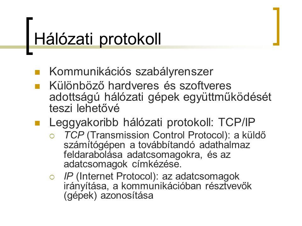 Hálózati protokoll Kommunikációs szabályrenszer Különböző hardveres és szoftveres adottságú hálózati gépek együttműködését teszi lehetővé Leggyakoribb
