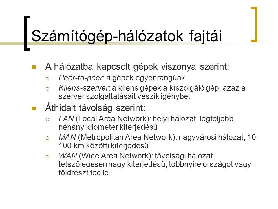 Hálózati hardver Hálózati csatolókártya szükséges Erre kapcsolódik a hálózati kábel Kommunikációt biztosító lehetséges átvivő közegek:  koaxiális kábel (belső vezető + külső, árnyékoló vezető)  sodort érpáras kábel (összecsavarozott rézdrótokból)  optikai kábel (üvegszál, fényvisszaverődés elvén alapul)  műhold Modem: hálózati kapcsolódáshoz használatos jelátalakító eszköz (digitális jelet analóggá alakítja és fordítva) Egyedi azonosító a gépek megkülönböztetéséhez