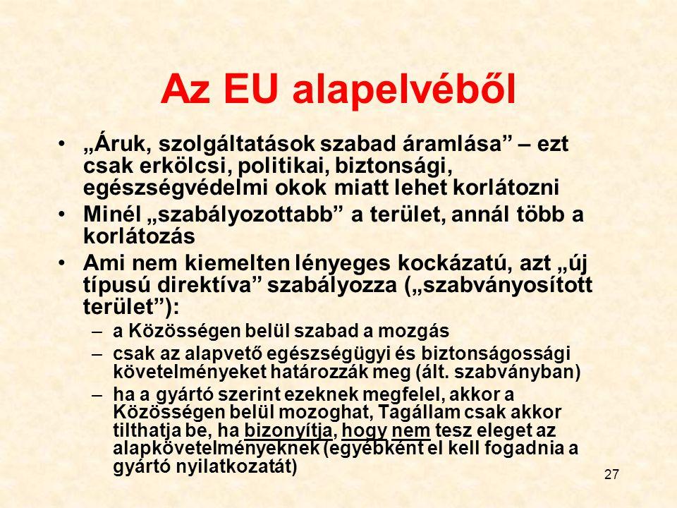 """27 Az EU alapelvéből """"Áruk, szolgáltatások szabad áramlása – ezt csak erkölcsi, politikai, biztonsági, egészségvédelmi okok miatt lehet korlátozni Minél """"szabályozottabb a terület, annál több a korlátozás Ami nem kiemelten lényeges kockázatú, azt """"új típusú direktíva szabályozza (""""szabványosított terület ): –a Közösségen belül szabad a mozgás –csak az alapvető egészségügyi és biztonságossági követelményeket határozzák meg (ált."""
