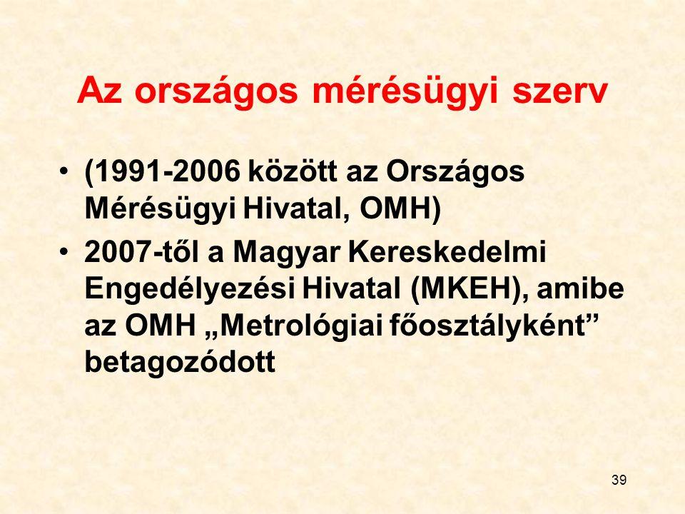 """39 Az országos mérésügyi szerv (1991-2006 között az Országos Mérésügyi Hivatal, OMH) 2007-től a Magyar Kereskedelmi Engedélyezési Hivatal (MKEH), amibe az OMH """"Metrológiai főosztályként betagozódott"""