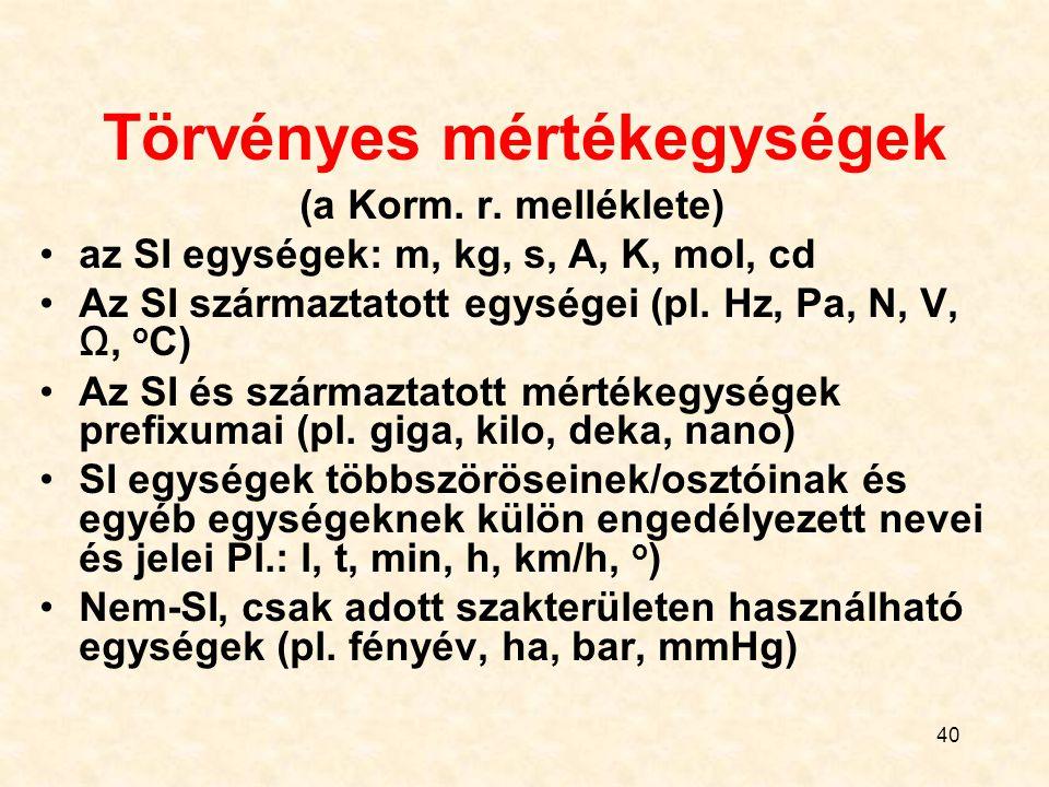 40 Törvényes mértékegységek (a Korm. r. melléklete) az SI egységek: m, kg, s, A, K, mol, cd Az SI származtatott egységei (pl. Hz, Pa, N, V, Ω, o C) Az
