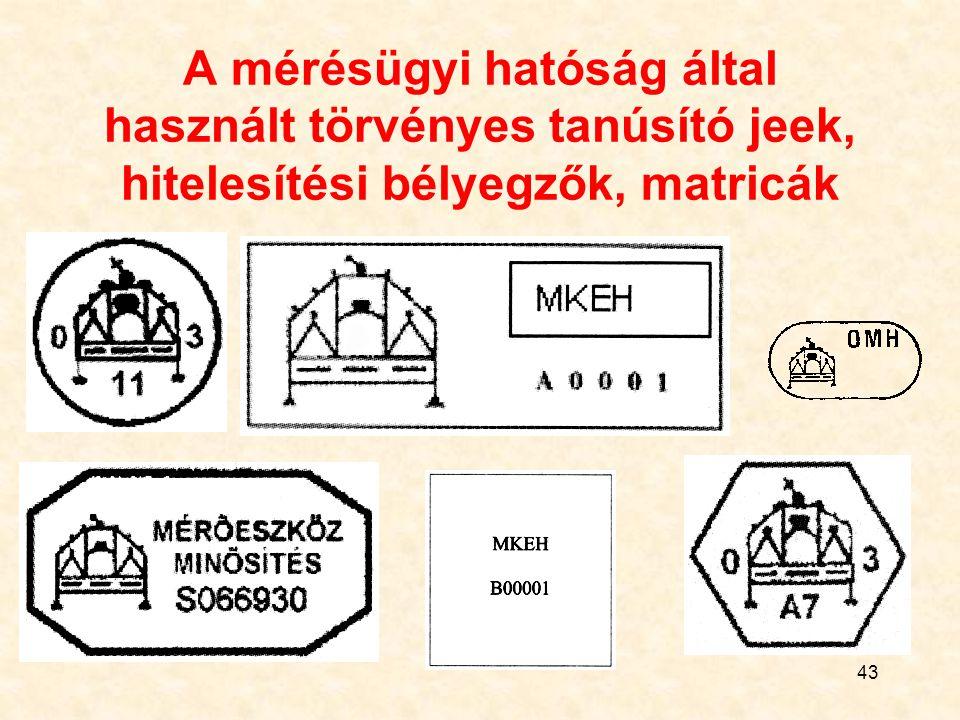 43 A mérésügyi hatóság által használt törvényes tanúsító jeek, hitelesítési bélyegzők, matricák