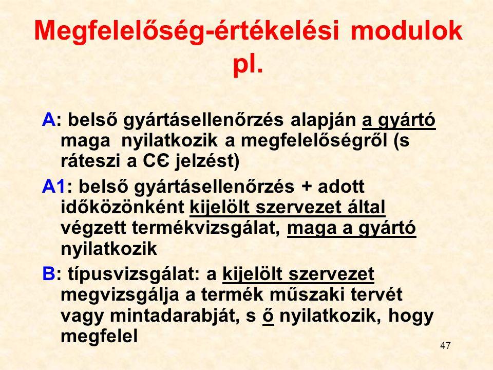 47 Megfelelőség-értékelési modulok pl.