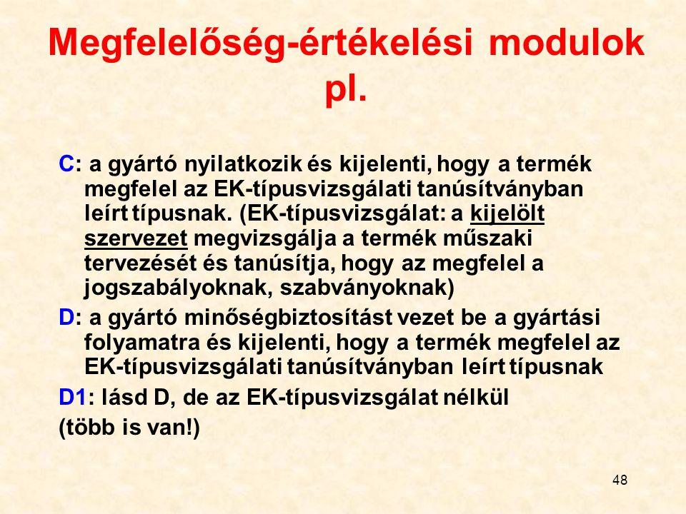 48 Megfelelőség-értékelési modulok pl. C: a gyártó nyilatkozik és kijelenti, hogy a termék megfelel az EK-típusvizsgálati tanúsítványban leírt típusna