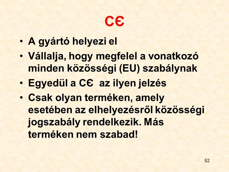 52 CЄCЄ A gyártó helyezi el Vállalja, hogy megfelel a vonatkozó minden közösségi (EU) szabálynak Egyedül a CЄ az ilyen jelzés Csak olyan terméken, amely esetében az elhelyezésről közösségi jogszabály rendelkezik.