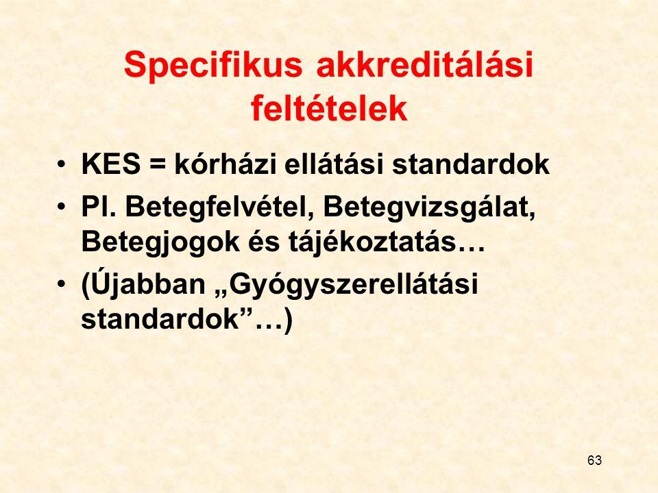 """63 Specifikus akkreditálási feltételek KES = kórházi ellátási standardok Pl. Betegfelvétel, Betegvizsgálat, Betegjogok és tájékoztatás… (Újabban """"Gyóg"""