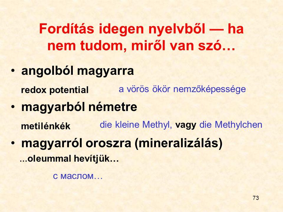 73 Fordítás idegen nyelvből — ha nem tudom, miről van szó… angolból magyarra redox potential magyarból németre metilénkék magyarról oroszra (mineralizálás) … oleummal hevítjük… a vörös ökör nemzőképessége die kleine Methyl, vagy die Methylchen c маслом…
