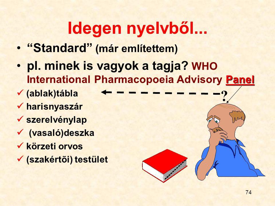 """74 Idegen nyelvből... """"Standard"""" (már említettem) pl. minek is vagyok a tagja? WHO International Pharmacopoeia Advisory Panel (ablak)tábla harisnyaszá"""