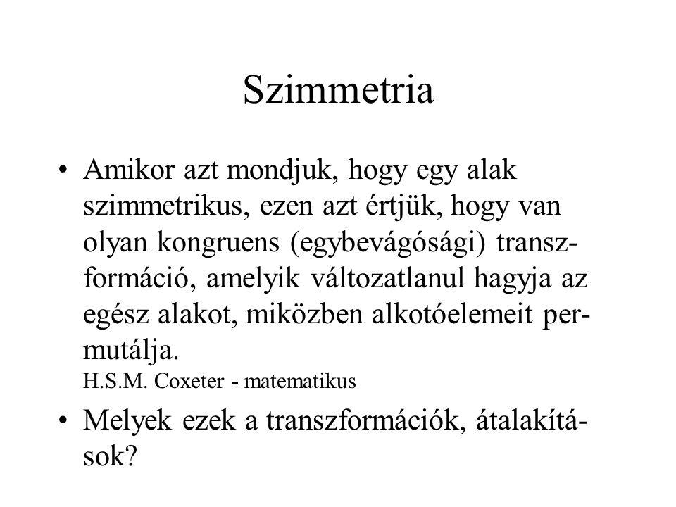 A transzformációs mátrixok  yz  xz C2C2 E