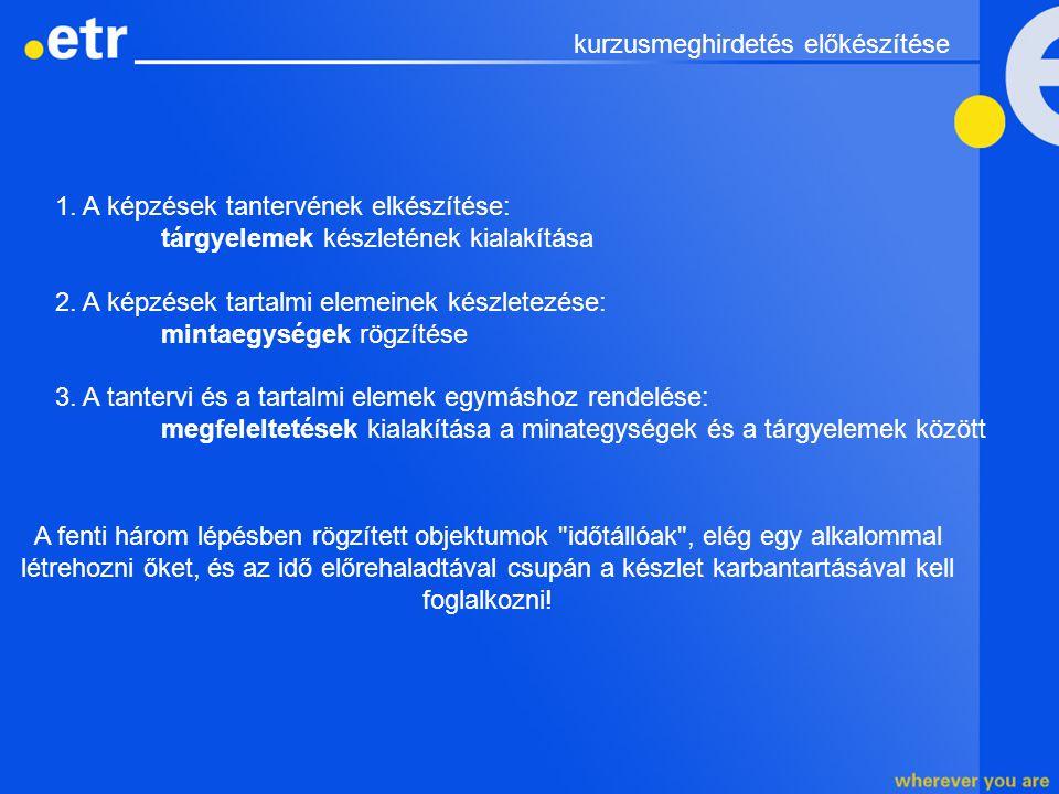 1. A képzések tantervének elkészítése: tárgyelemek készletének kialakítása 2. A képzések tartalmi elemeinek készletezése: mintaegységek rögzítése 3. A