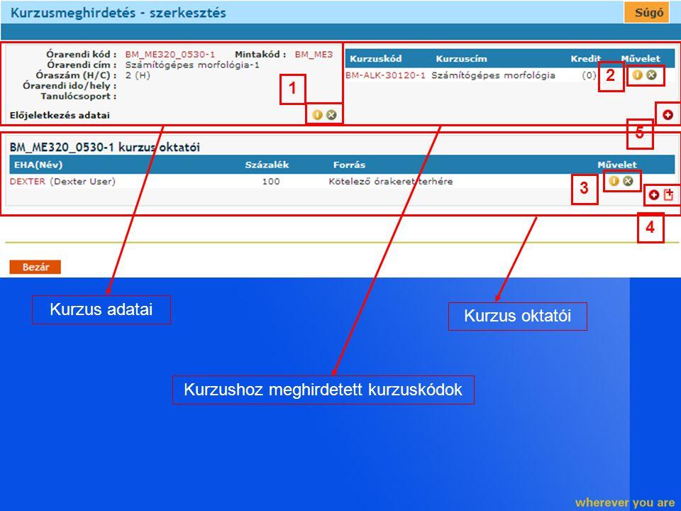 Kurzus adatai Kurzushoz meghirdetett kurzuskódok Kurzus oktatói 1 2 5 3 4