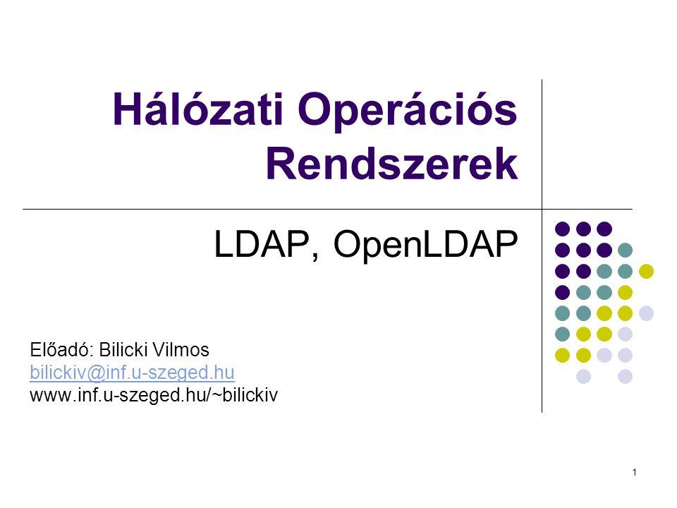 1 Hálózati Operációs Rendszerek LDAP, OpenLDAP Előadó: Bilicki Vilmos bilickiv@inf.u-szeged.hu www.inf.u-szeged.hu/~bilickiv