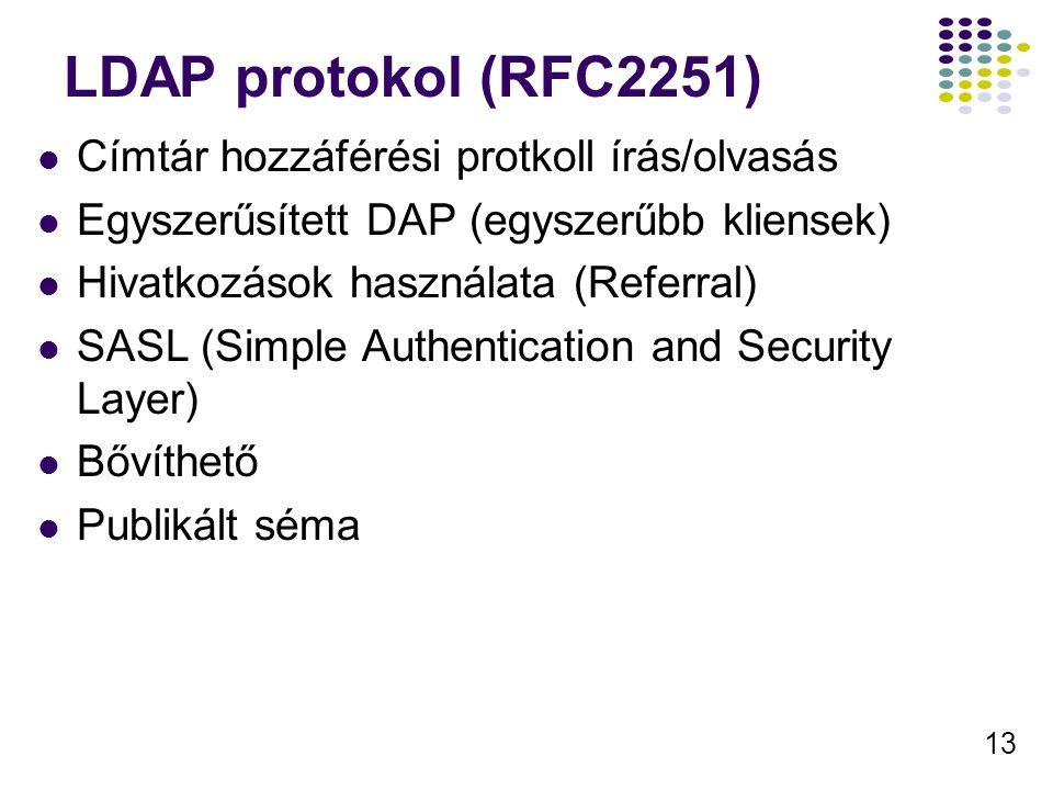 13 LDAP protokol (RFC2251) Címtár hozzáférési protkoll írás/olvasás Egyszerűsített DAP (egyszerűbb kliensek) Hivatkozások használata (Referral) SASL (Simple Authentication and Security Layer) Bővíthető Publikált séma