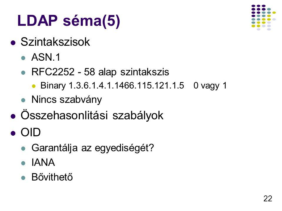 22 LDAP séma(5) Szintakszisok ASN.1 RFC2252 - 58 alap szintakszis Binary 1.3.6.1.4.1.1466.115.121.1.5 0 vagy 1 Nincs szabvány Összehasonlitási szabályok OID Garantálja az egyediségét.