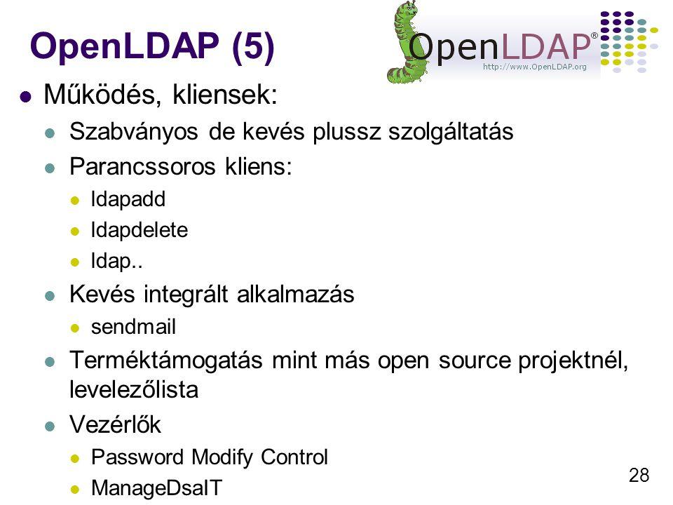 28 Működés, kliensek: Szabványos de kevés plussz szolgáltatás Parancssoros kliens: ldapadd ldapdelete ldap..