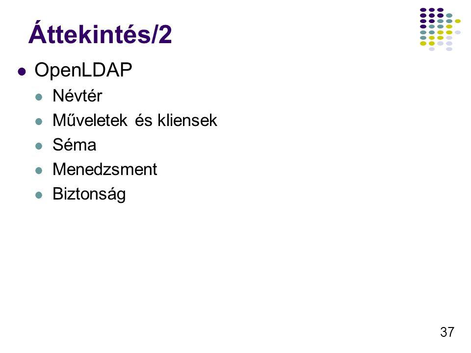 37 Áttekintés/2 OpenLDAP Névtér Műveletek és kliensek Séma Menedzsment Biztonság