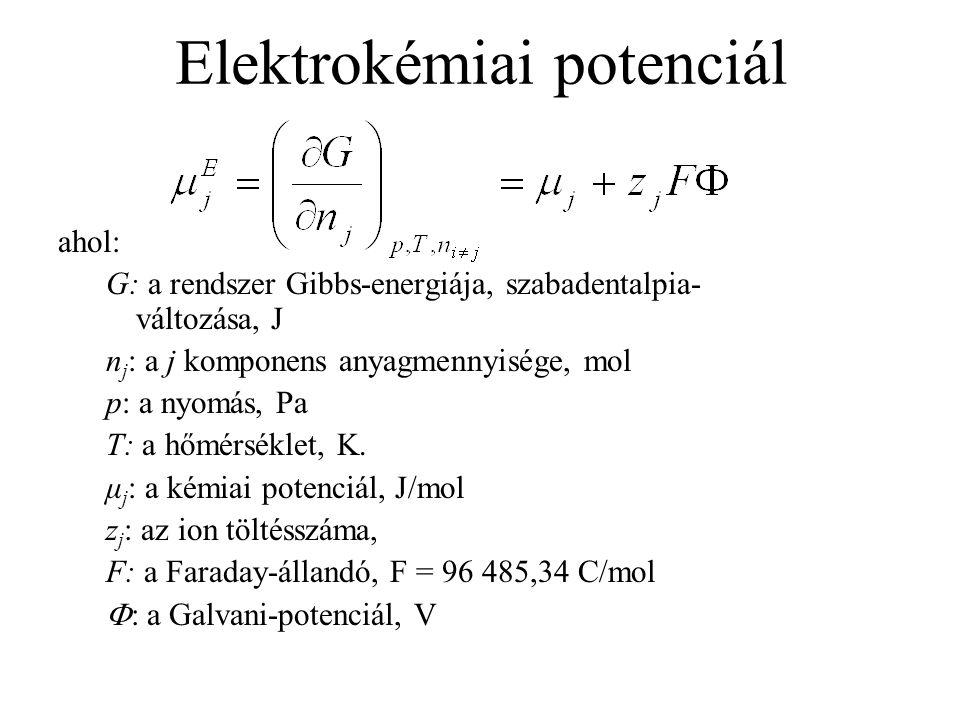 Elektrokémiai potenciál ahol: G: a rendszer Gibbs-energiája, szabadentalpia- változása, J n j : a j komponens anyagmennyisége, mol p: a nyomás, Pa T: