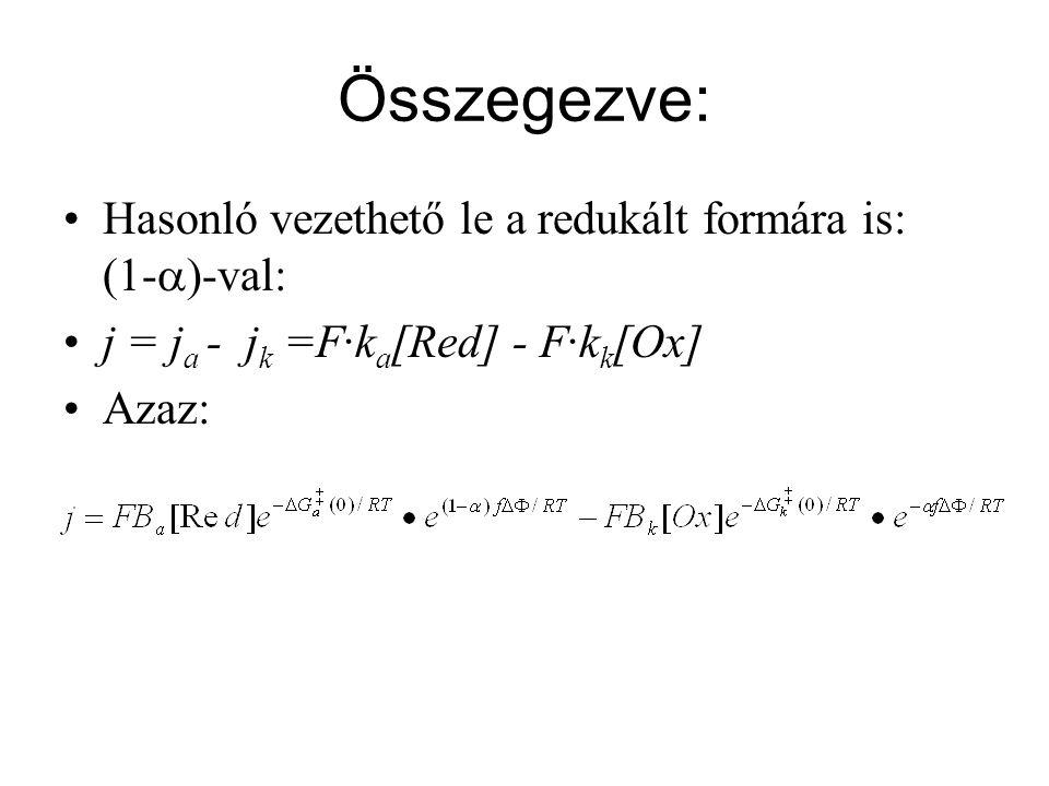Összegezve: Hasonló vezethető le a redukált formára is: (1-  )-val: j = j a - j k =F·k a [Red] - F·k k [Ox] Azaz: