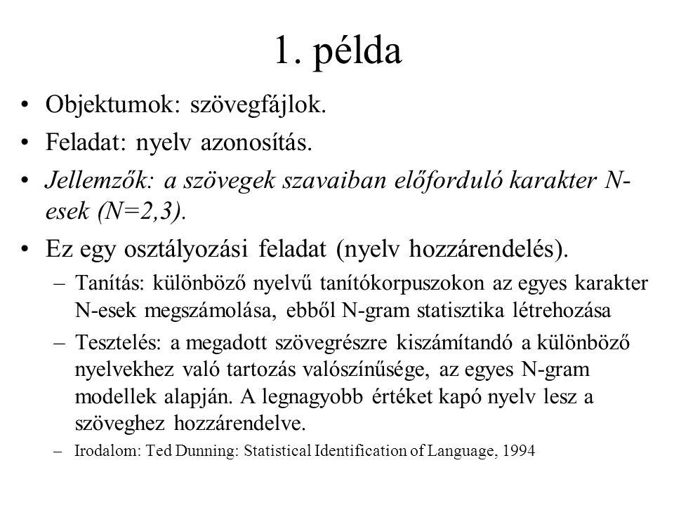 1. példa Objektumok: szövegfájlok. Feladat: nyelv azonosítás. Jellemzők: a szövegek szavaiban előforduló karakter N- esek (N=2,3). Ez egy osztályozási