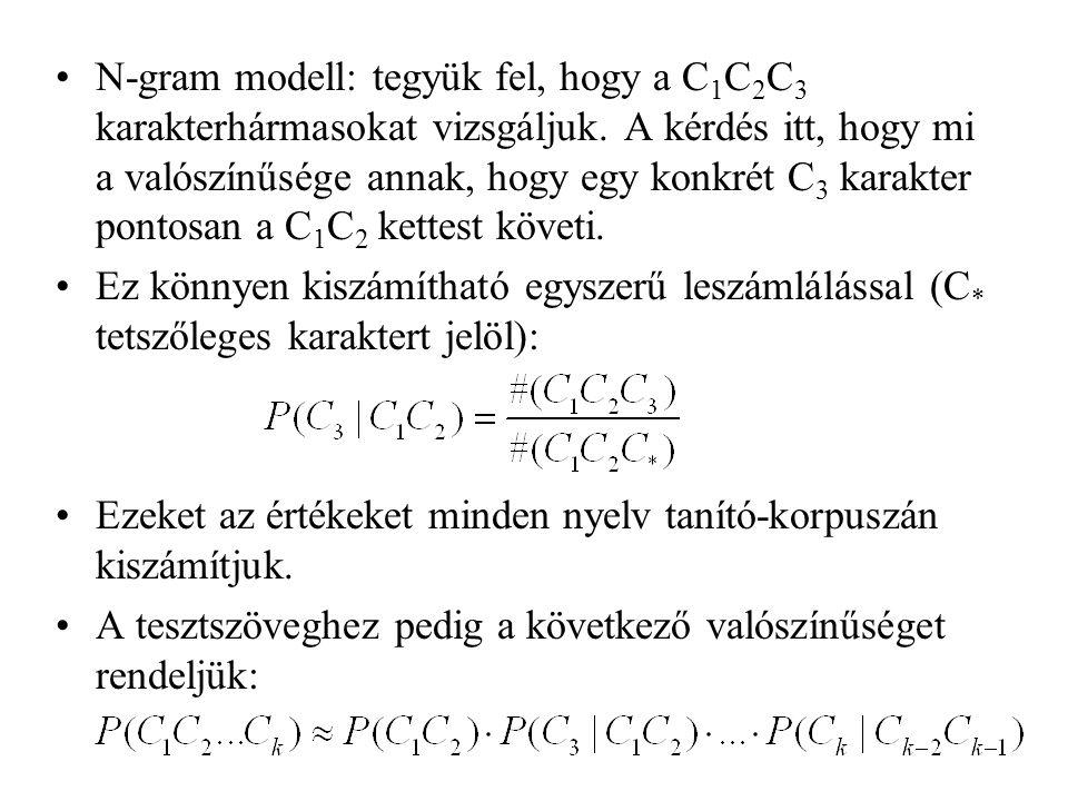 N-gram modell: tegyük fel, hogy a C 1 C 2 C 3 karakterhármasokat vizsgáljuk. A kérdés itt, hogy mi a valószínűsége annak, hogy egy konkrét C 3 karakte