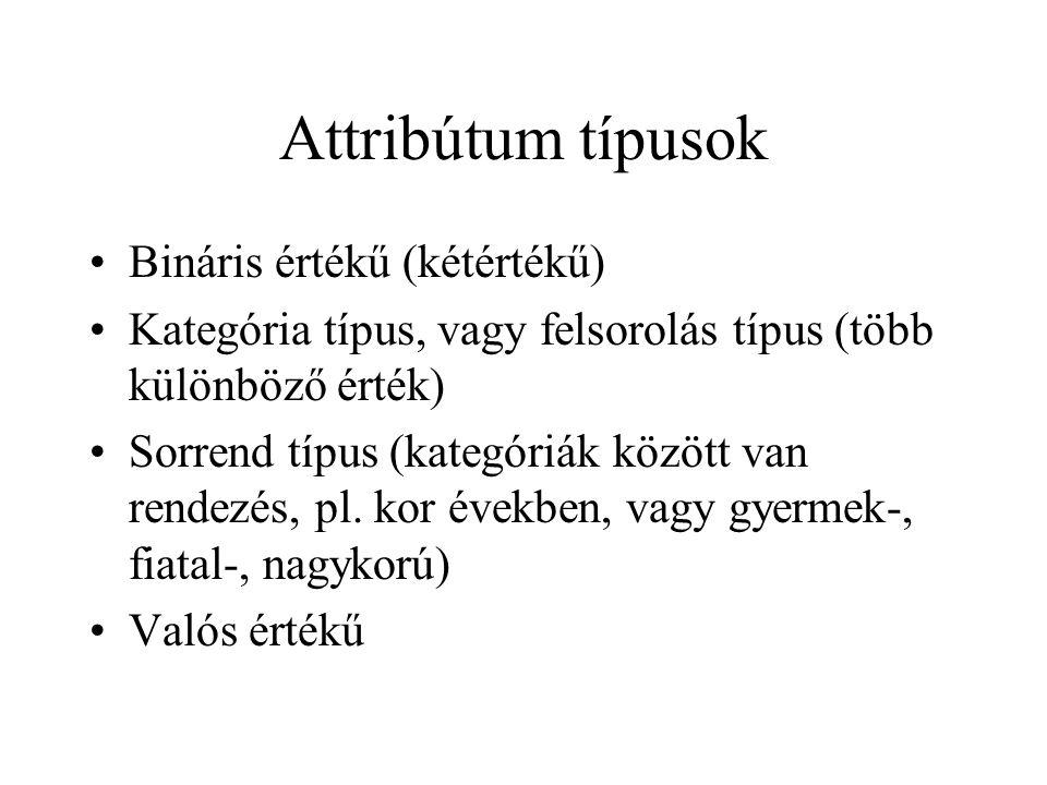 Attribútum típusok Bináris értékű (kétértékű) Kategória típus, vagy felsorolás típus (több különböző érték) Sorrend típus (kategóriák között van rende