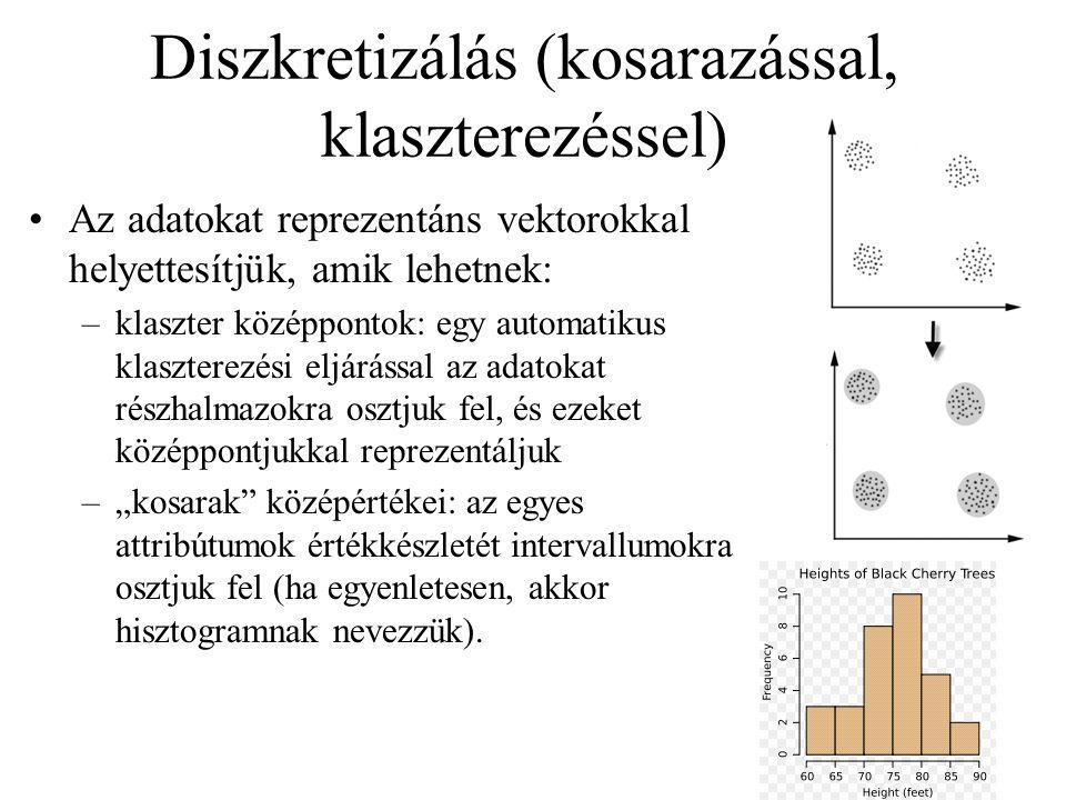 Diszkretizálás (kosarazással, klaszterezéssel) Az adatokat reprezentáns vektorokkal helyettesítjük, amik lehetnek: –klaszter középpontok: egy automati
