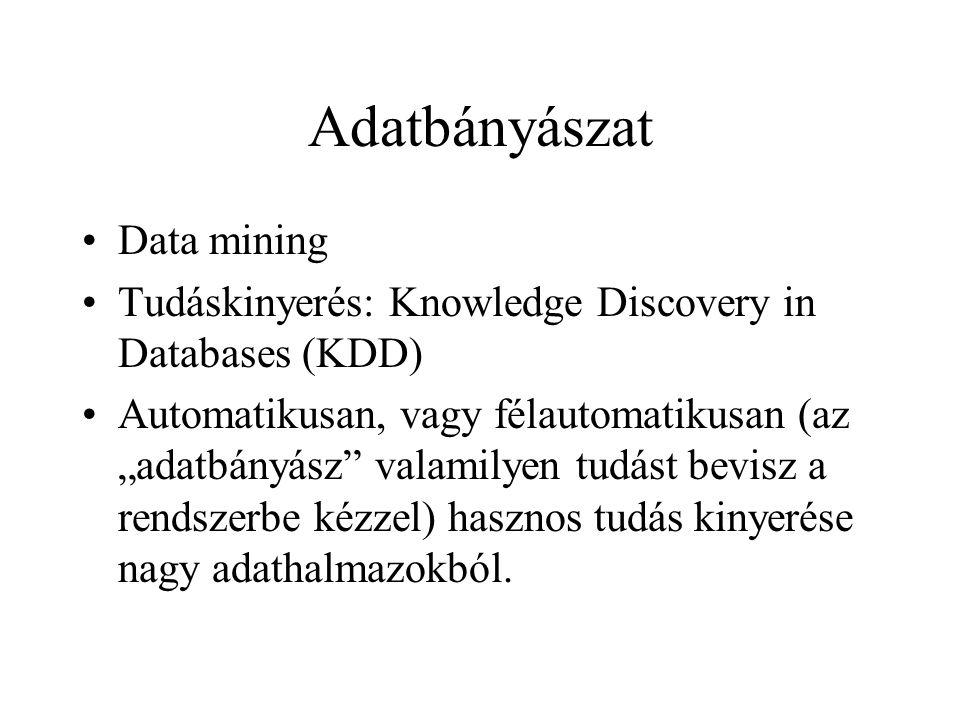 """Adatbányászat Data mining Tudáskinyerés: Knowledge Discovery in Databases (KDD) Automatikusan, vagy félautomatikusan (az """"adatbányász"""" valamilyen tudá"""