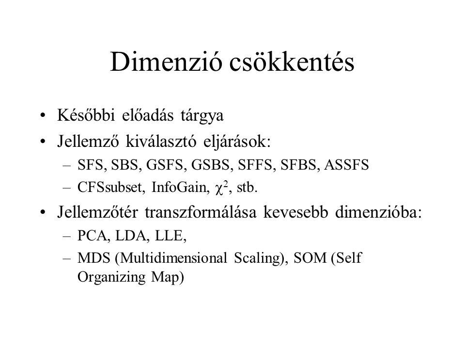 Dimenzió csökkentés Későbbi előadás tárgya Jellemző kiválasztó eljárások: –SFS, SBS, GSFS, GSBS, SFFS, SFBS, ASSFS –CFSsubset, InfoGain,  2, stb. Jel