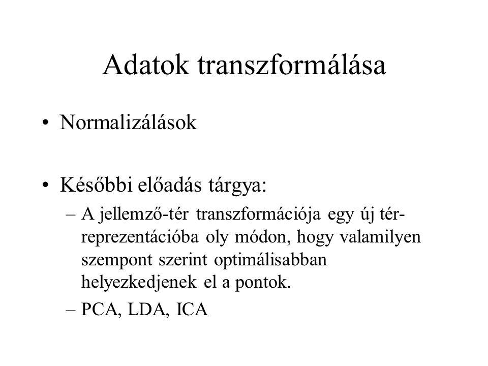 Adatok transzformálása Normalizálások Későbbi előadás tárgya: –A jellemző-tér transzformációja egy új tér- reprezentációba oly módon, hogy valamilyen