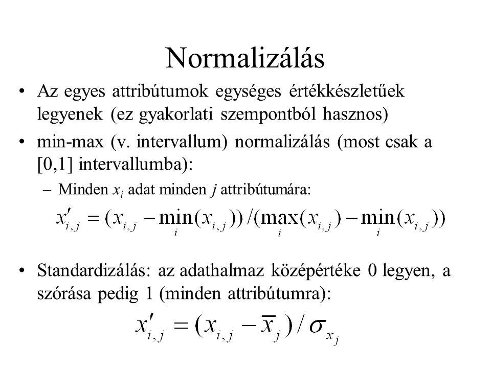 Normalizálás Az egyes attribútumok egységes értékkészletűek legyenek (ez gyakorlati szempontból hasznos) min-max (v. intervallum) normalizálás (most c