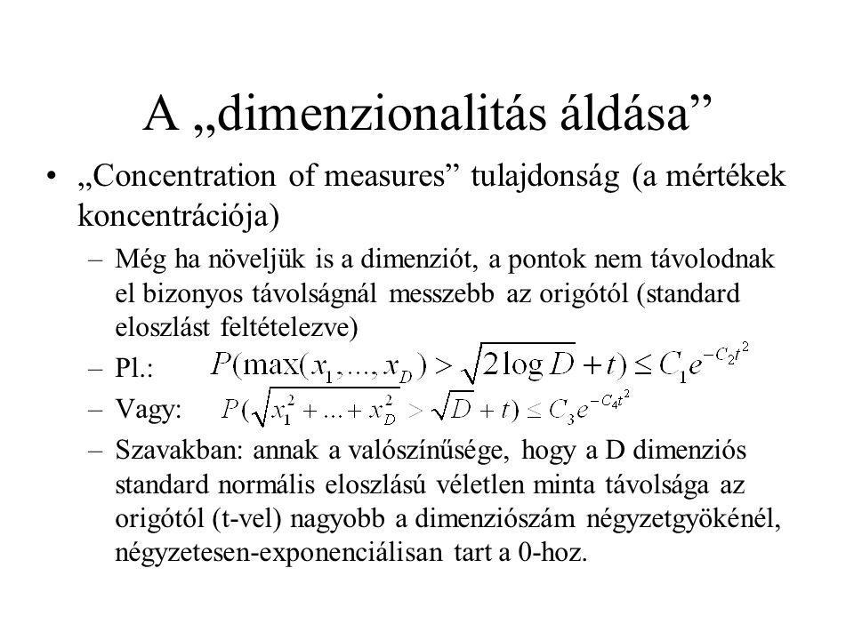 """A """"dimenzionalitás áldása"""" """"Concentration of measures"""" tulajdonság (a mértékek koncentrációja) –Még ha növeljük is a dimenziót, a pontok nem távolodna"""