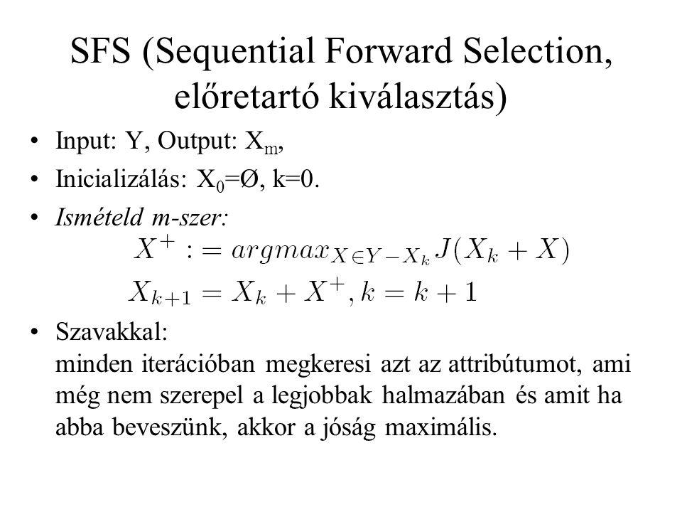 SFS (Sequential Forward Selection, előretartó kiválasztás) Input: Y, Output: X m, Inicializálás: X 0 =Ø, k=0. Ismételd m-szer: Szavakkal: minden iterá