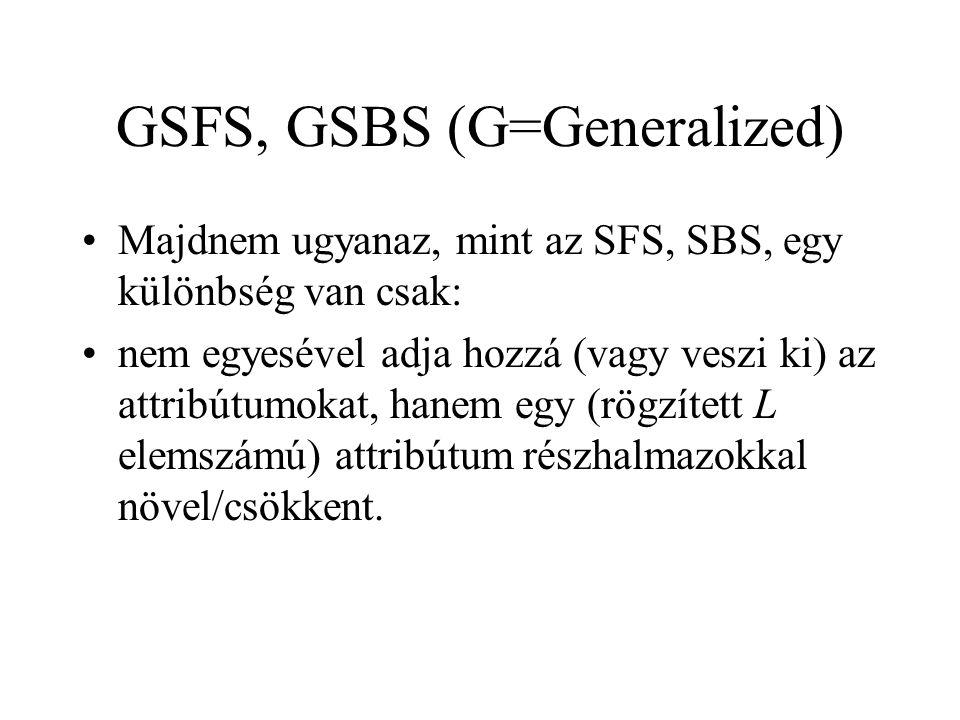 GSFS, GSBS (G=Generalized) Majdnem ugyanaz, mint az SFS, SBS, egy különbség van csak: nem egyesével adja hozzá (vagy veszi ki) az attribútumokat, hane