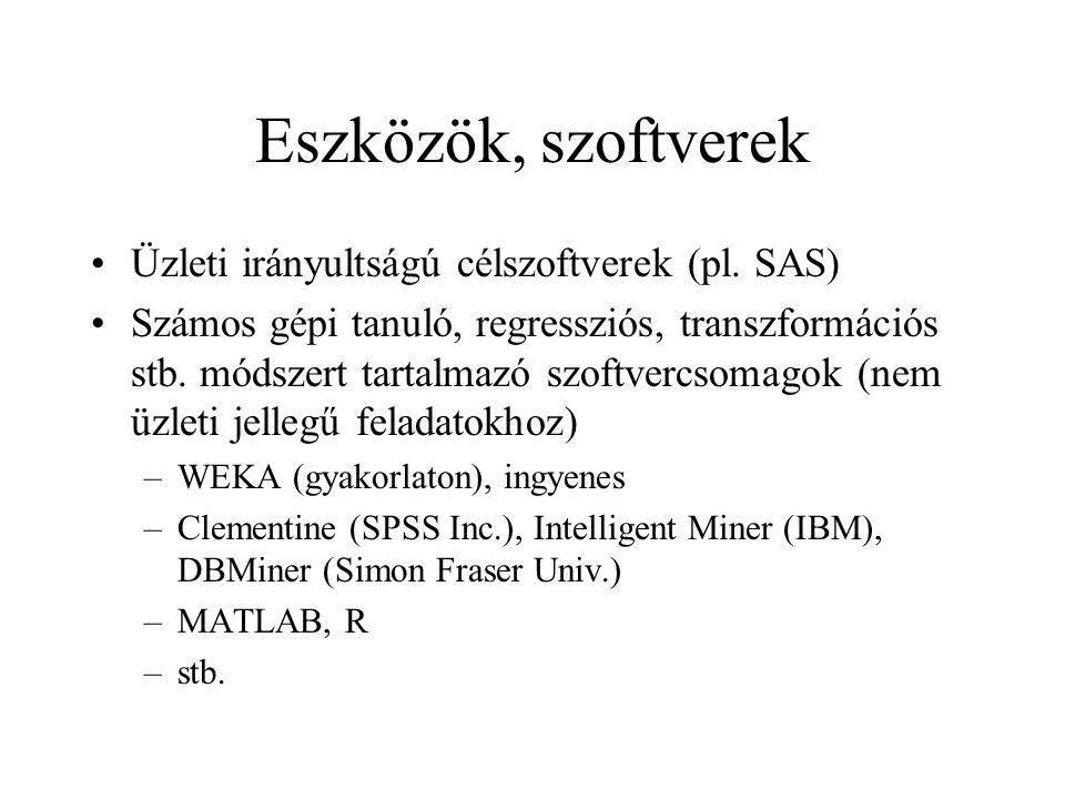 Eszközök, szoftverek Üzleti irányultságú célszoftverek (pl. SAS) Számos gépi tanuló, regressziós, transzformációs stb. módszert tartalmazó szoftvercso
