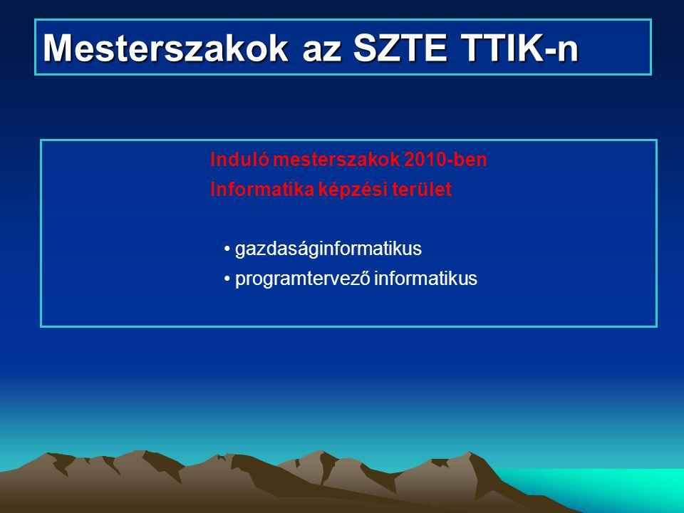 Mesterszakok az SZTE TTIK-n Induló mesterszakok 2010-ben Informatika képzési terület gazdaságinformatikus programtervező informatikus